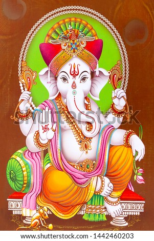 stock photo illustration of colorful hindu lord ganesha on decorative background graphical poster modern art 1442460203