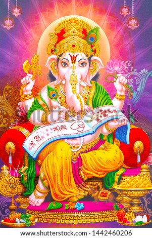 stock photo illustration of colorful hindu lord ganesha on decorative background graphical poster modern art 1442460206