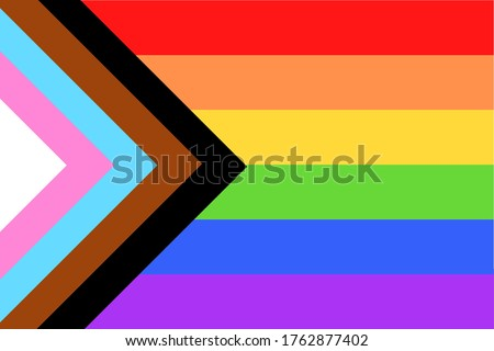 Illustration of colorful new Social Justice / Progress rainbow pride flag / banner of LGBTQ+ (Lesbian, gay, bisexual, transgender & Queer) organization. June is celebrated as the Pride Parade month