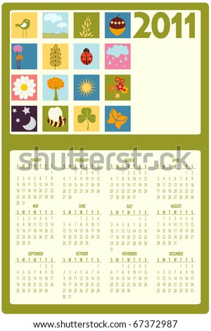 Illustration of colorful style design Calendar for 2011