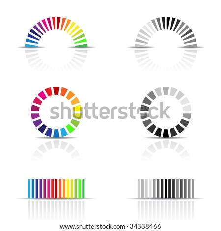 illustration of colour profile samples, cmyk, rgb
