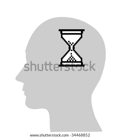 Illustration of computer hour-glass in human head, (jpg)
