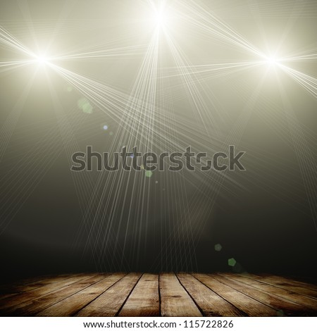illustration of concert spot lighting over dark background and wood floor