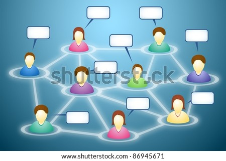 Illustration of connected social network members with blank faces and text clouds