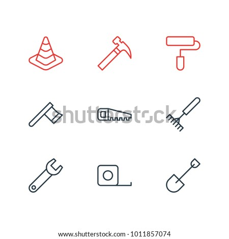 illustration of 9 construction icons line style. Editable set of hacksaw, handle hit, hatchet icon elements.