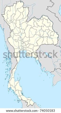 Illustration of country of Thailand map showing borders.