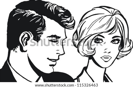 Illustration of couple of lovers