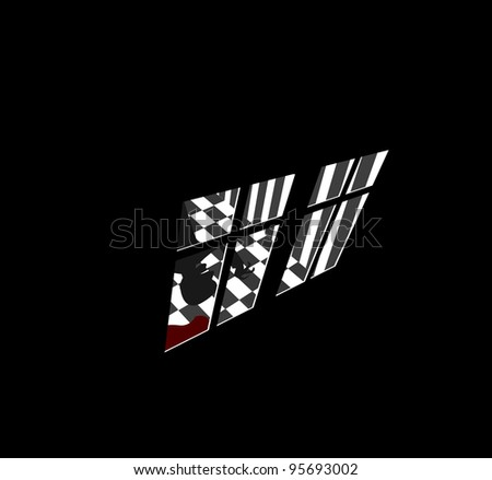 Illustration of crazy murderer in house with pool of blood