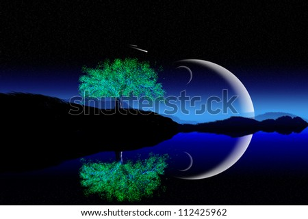 Illustration of crescent moon with beautiful night background.
