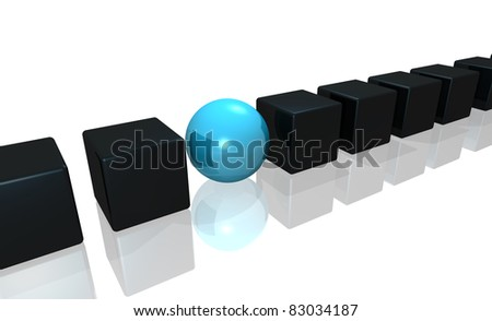 illustration of cubes of dark gray color and ball of blue color