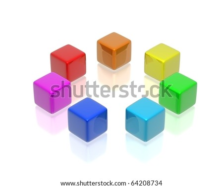 Illustration of cubes of the different colour standing in a circle