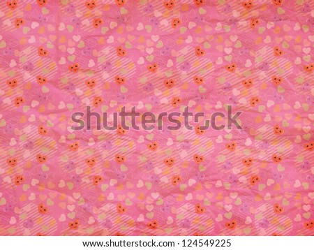 Illustration of cute cartoon hearts with faces pink paper pattern ...