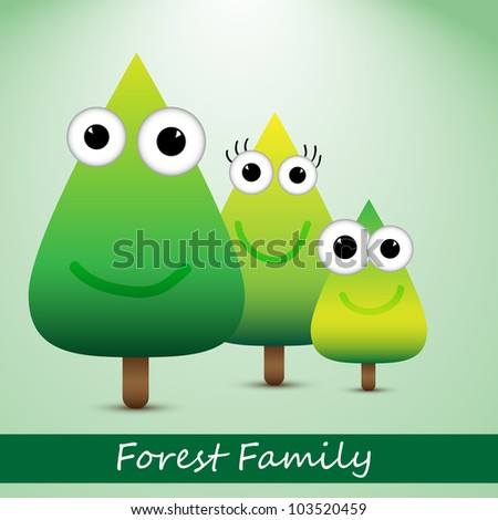 Illustration of cute forest family