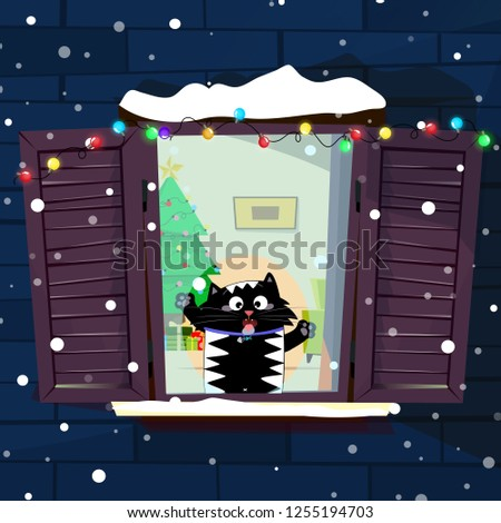 illustration of cute funny cartoon cat character catching snow flakes with tongue on decorated window with garland, fir tree in room. Merry christmas or new year greeting card concept art.