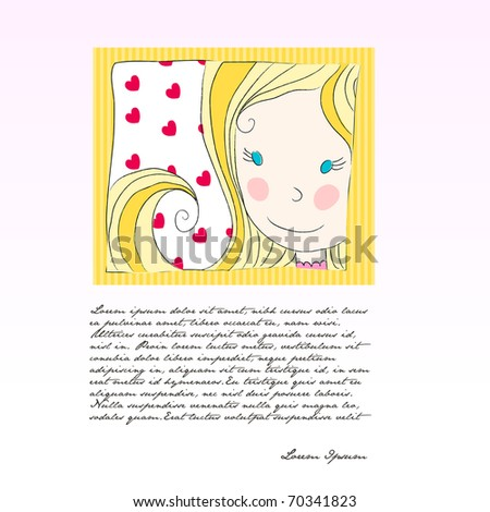 Illustration of cute girl with hearts background with copyspace ...