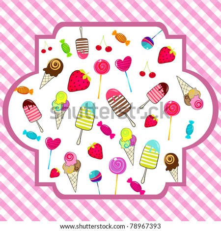 Illustration of cute, hand drawn style retro candies background ...