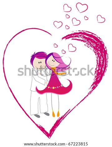 Illustration of cute Valentine's Day heart with boy and girl