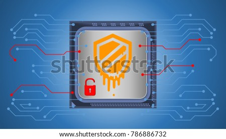 Illustration of cybersecurity on Meltdown attack. Meltdown breaks the most fundamental isolation between user applications and the operating system. This applies both to personal computers and cloud.