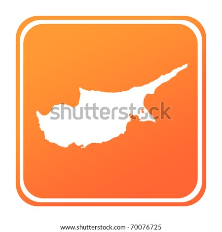 Illustration of Cyprus map button; isolated on white background.