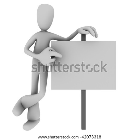 Illustration of 3D cartoon person casually pointing at blank sign against white background