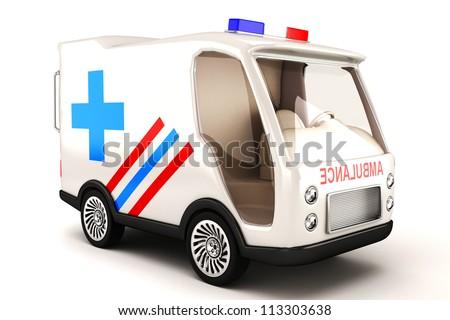 illustration of 3d image of ambulance against white