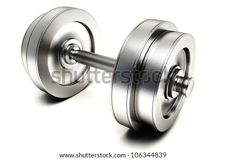 illustration of 3d image of dumb bell against white background