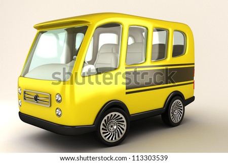illustration of 3d image of mimi bus against white