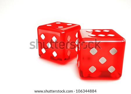 illustration of 3d image of pair of dice against white background