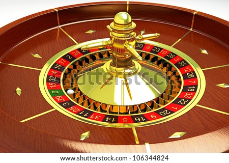illustration of 3d image of roulette with white ball