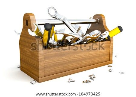 illustration of 3d image of toolbox with mechanical instrument