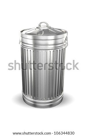 illustration of 3d image of trash can against white background