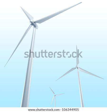 illustration of 3d image of wind turbine against sky backdrop