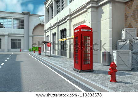 illustration of 3d render of telephone booth in city street