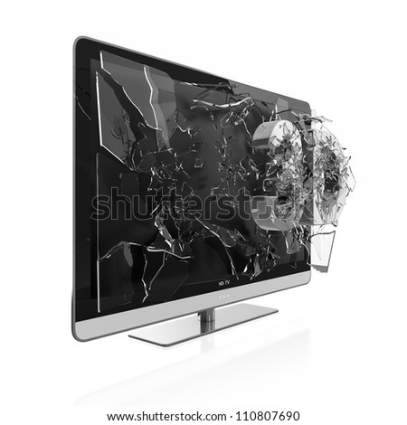 Illustration of 3D text breaking TV screen. Stereoscopic TV.