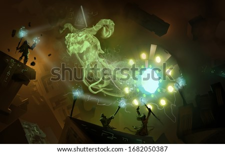 Illustration of dark silhouette characters summoning a dragon from a mysterious science fiction portal - digital fantasy painting