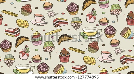 Illustration of delicious cupcakes, cup of coffee and cup of tea, seamless pattern. Candies background.