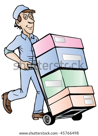 illustration of delivery service; delivery man with hand truck, isolated on a white background