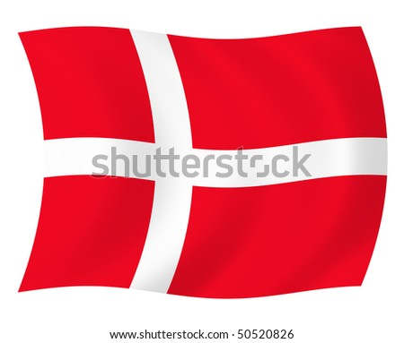 Illustration of Denmark flag waving in the wind