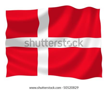 Illustration of Denmark flag waving in the wind