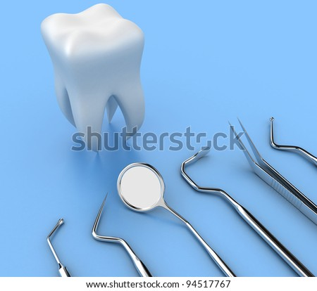 Illustration of dental tools opposite to white tooth
