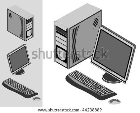 Illustration of desktop computer with keyboard, mouse, monitor and case. Vector version is available.