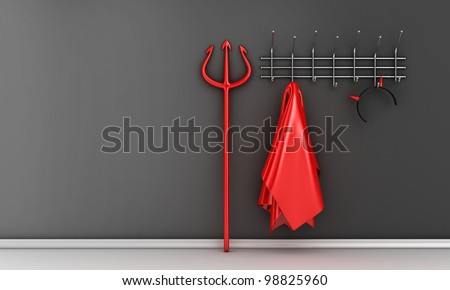 Illustration of devil costume and horns on a hanger