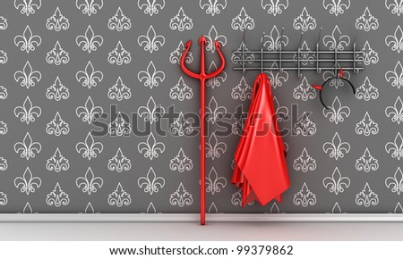 Illustration of devil costume and horns on a hanger
