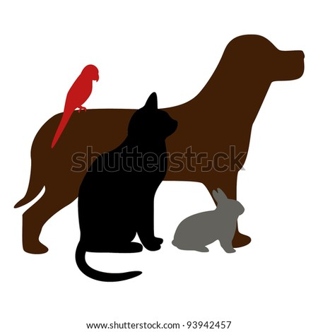 illustration of dog, cat, bird and rabbit