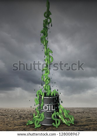 Illustration of dollar symbols (like monkeys) being pulled out of a barrel of oil.