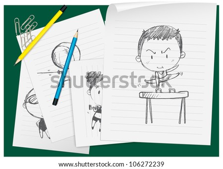 illustration of drawing paper and pencils on a green