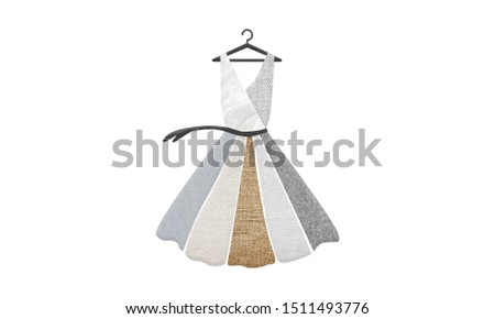 Illustration of dress made up of sustainable textiles, wool, silk, organic cotton, linen and hemp. Sustainable fashion and ethical shopping conscious consumerism concept