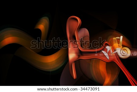 illustration of  ear in colour  background