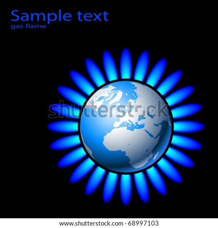Illustration of Earth and a natural gas flame.