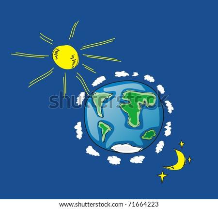 Illustration of Earth, Sun, Moon